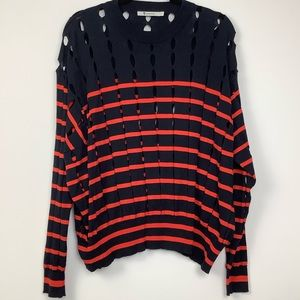 T Alexander Wang Cutout Striped Sweater Blue/Red